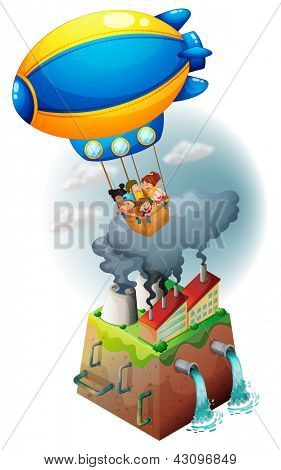 Illustration of kids carried by an airship on a white background