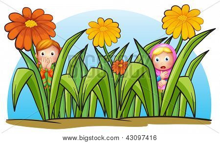 Illustration of two little girls hiding on a white background