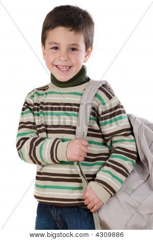 Adorable Boy Student With Backpack