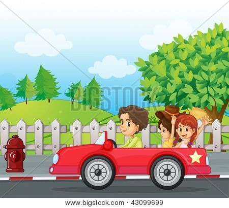 Illustratio of a young gentlemen driving a car with two ladies at the back