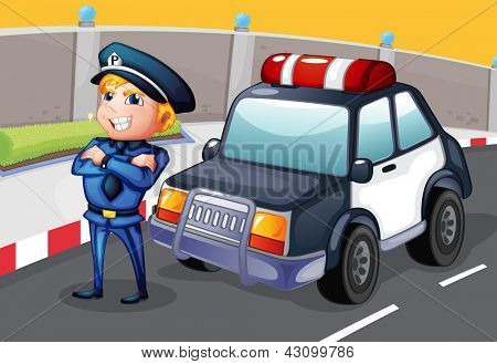 Illustration of a policeman standing beside his patrol car