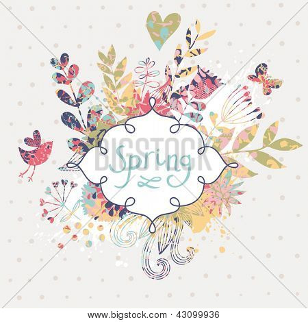 Spring floral design element. Birds, flowers and butterflies in cute floral background in vector. Romantic card