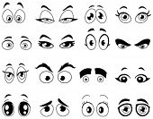 stock photo of manga  - Outlined cartoon eyes set - JPG