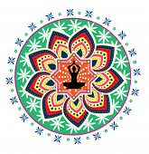 image of padmasana  - yoga lotus posture icon illustration design style - JPG