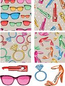 picture of girlie  - Pop Art inspired Girlie Seamless Patterns and Icons - JPG