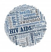 HIV and AIDS in word collage
