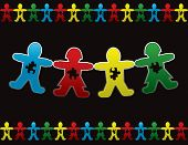 foto of autism  - Paper doll children background design with symbolic autism puzzle pieces - JPG