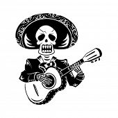 stock photo of day dead skull  - Mariachi guitar player for Day of the Dead - JPG