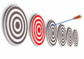 pic of bullseye  - One arrow in the right target bullseye - JPG