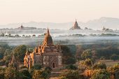 image of pagan  - View from the Shwe Sandaw Pagoda during sunset in Bagan Myanmar - JPG