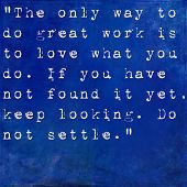 Inspirational quote by Steve Jobs on earthy blue background
