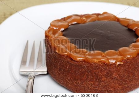 Chocolate Toffee Cake On Plate With Fork