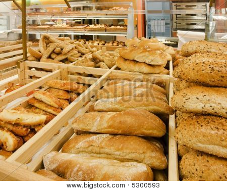 Variety Of Bread At A Supermarket