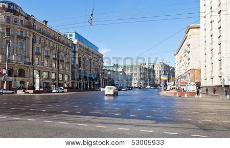 Panorama Of Tverskaya Street In Moscow