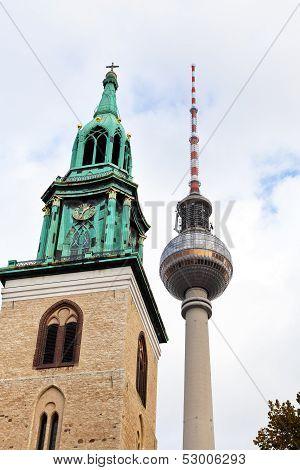 Tv Tower And Marienkirche In Berlin