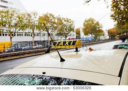 Taxi Car On Urban Road