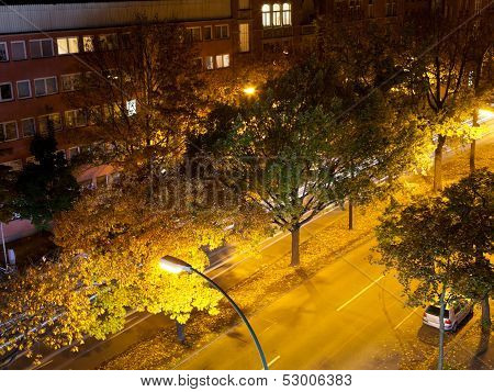 Urban Residential District In Night