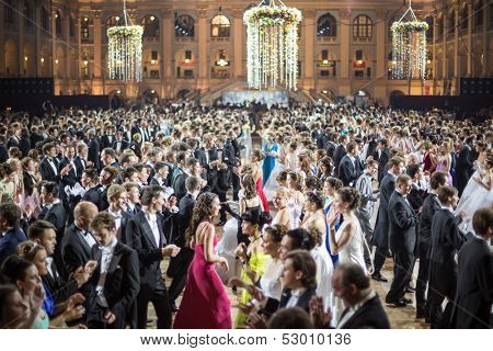 MOSCOW - MAY 25: Rows of men and girls at 11th Viennese Ball in Gostiny Dvor on May 25, 2013 in Moscow, Russia.