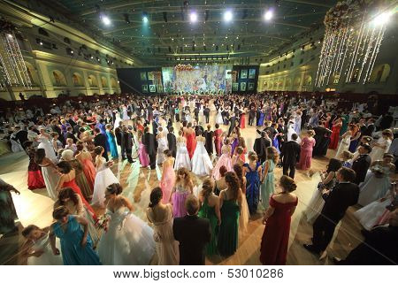 MOSCOW - MAY 25: Beautiful people at 11th Viennese Ball in Gostiny Dvor on May 25, 2013 in Moscow, Russia.