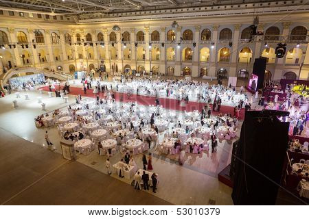 MOSCOW - MAY 25: Tables at the banquet at 11th Viennese Ball in Gostiny Dvor on May 25, 2013 in Moscow, Russia.