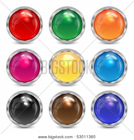 Set Multicolored Glass Buttons In A Silver Frame.colorful Buttons For Websites.vector