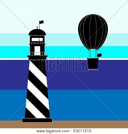 Create Lighthouse And Balloon Scenery