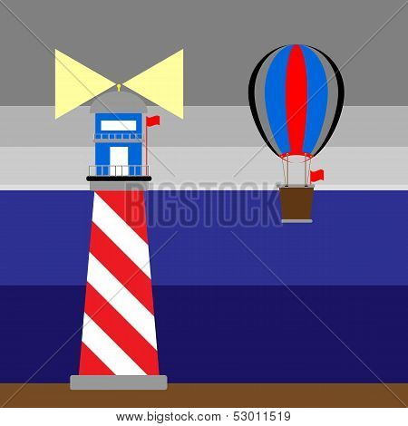 Create Lighthouse And Balloon At Night