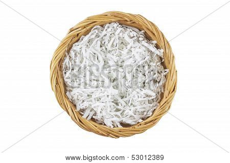 Brown wicker basket isolated with clipping path