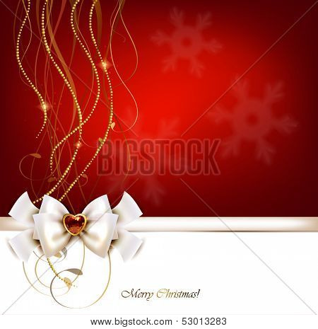 Christmas red greeting card with bow and jewelry.