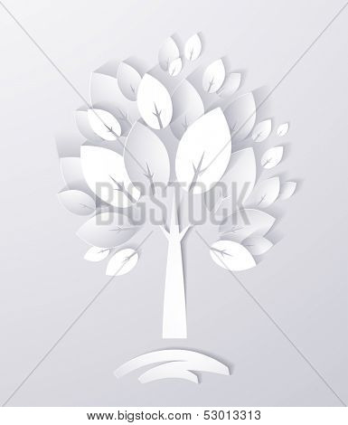 paper white tree abstract background