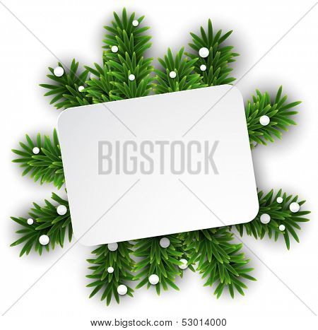 Paper white gift card over green christmas tree branches. Vector illustration.