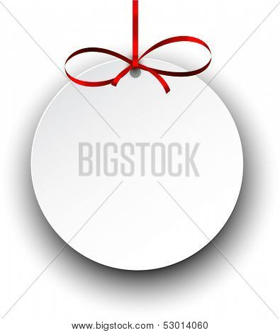 Christmas gift card with red ribbon and satin bow. Vector illustration.