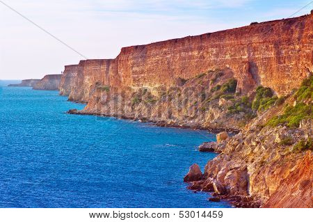 Coastal Red Rocks And Blue Sea Landscape Summer Traveling Headland Fiolent Cape Near Sevastopol Crim