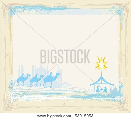 Grunge Frame With  Traditional Christian Christmas Nativity Scene With The Three Wise Men
