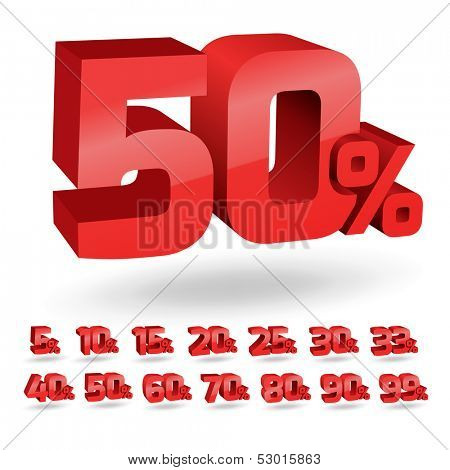 Set of percent discount digits. Vector illustration.