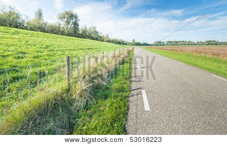 Curved Country Road In An Open Landscape