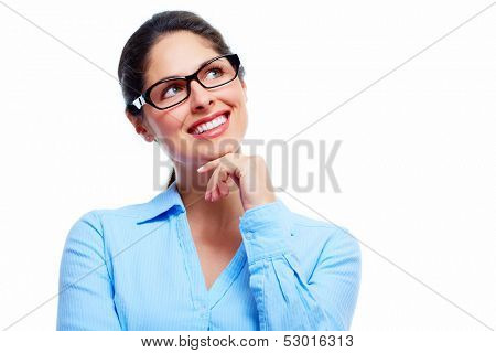Beautiful thinking business woman isolated white background