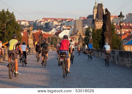 Cyclists on Charles Bridge
