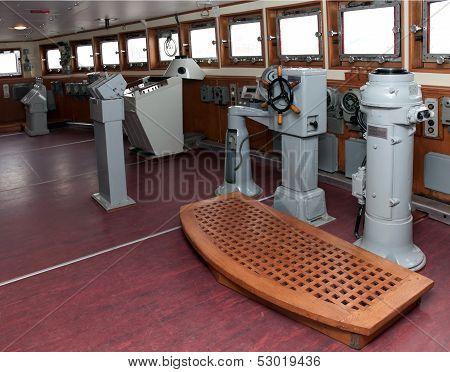 Captain's Bridge On Old Icebreaker