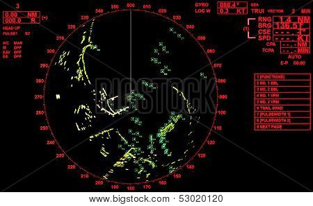 Black And Red Modern Ship Radar Screen With Round Map And Standard Text Labels