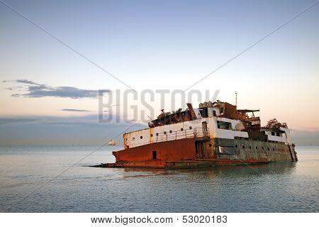 Rusted Sunk Ship Nearby Coast Of The Black Sea. Sochi, Russia