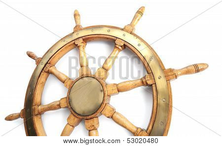 Old Wooden Steering Wheel On White Background