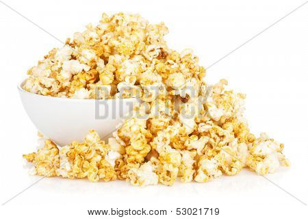 Bowl with popcorn. Isolated on white background