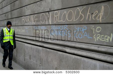 Bank Of England Graffiti At The G20 Summit Protests In London Uk