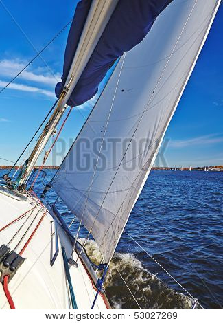 Sailboat In Action, Extreme Sport, Autumn Cruise On The Lake, Active Lifestyle