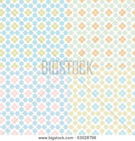 Vector Illustration Of A Set Of Abstract Floral Geometrical Seamless Patterns