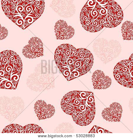 Vector Illustration Of A Seamless Hearts Pattern.