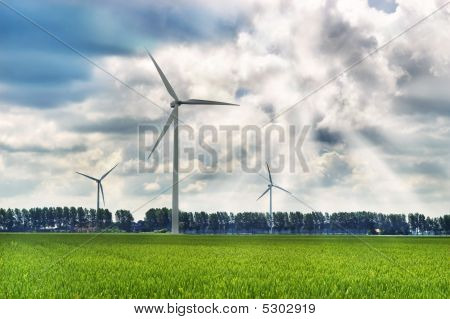 Windmills Against A Stormy Sky