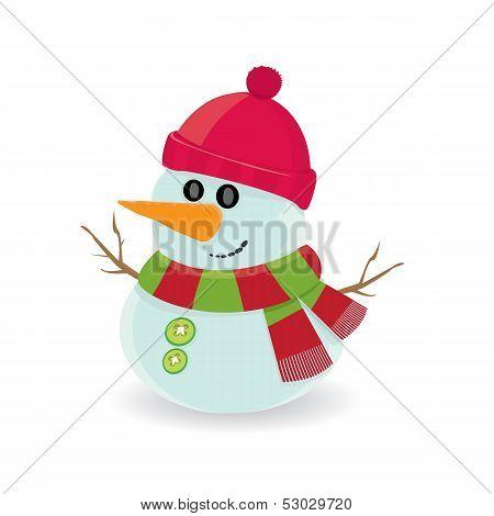 Vector cartoon snowman