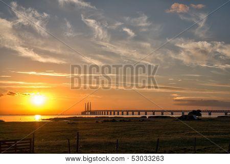 Oresund Bridge at sunset